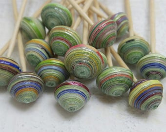 """Recycled paper beads """"Veronica"""", handmade, unique designs."""
