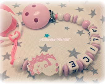 Attach pacifier, pacifier personalized, hedgehog, light pink and white.
