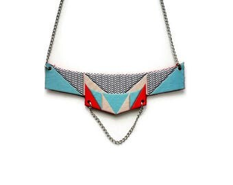 Graphic leather and brass bib necklace