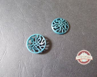 Button round in Corozzo teal print connector 25 Mm