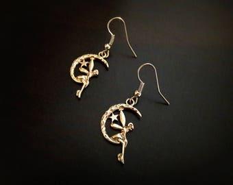 Fairy on Moon antique silver metal earrings