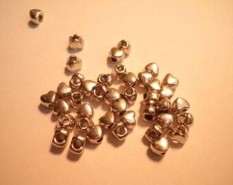 20 mini metal heart beads Silver 3.5 x 4 mm