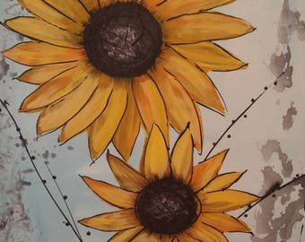 Abstract Sun flowers painting