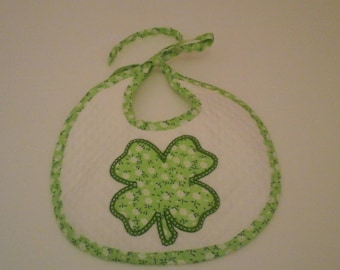 Lucky cotton pique bib in shades of green