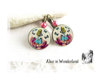 Alice in wonderland jewelry, Alice earrings, Alice jewelery, wonderland, cabochon, cheshire cat, alice rabbit, eat me