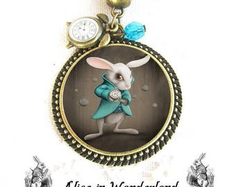Alice in wonderland jewelry, Alice Necklace, The White Rabbit, Fancy Jewelry Medallion Cabochon Necklace, The White Rabbit, Drink Me