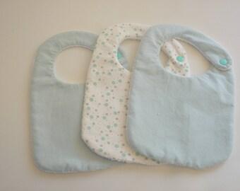 Set of turquoise, white newborn/baby bibs