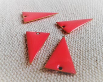 Set of 4 Sequins Triangle 20 mm - Pale pink enamel