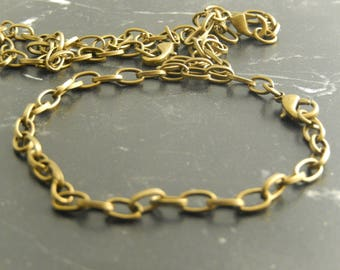 5 antique bronze with lobster clasp chain bracelet