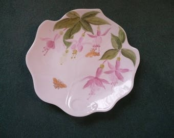 Ivy hand painted porcelain plate: fuschia flowers and insects Golden