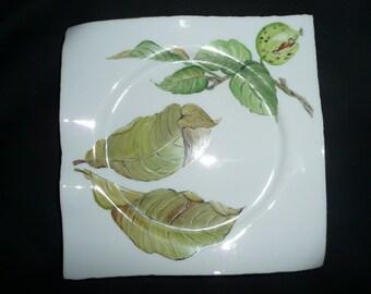 Autumn hand painted porcelain plate: pattern, Walnut