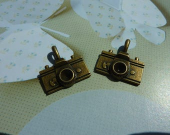 Set of 2 charms pendant camera bronze 20x20mm