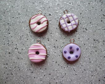 4 donuts charms made of polymer clay without mold 15 x 15 mm approx