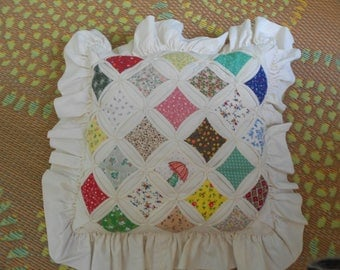 Vintage Cathedral Pattern Quited Pillow,- Vintage Quilted Pillow of Many Colors