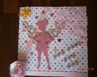 """Card all occasions collection fairy, """"Big kiss for you"""", pink fairy"""