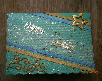 """Card birthday Collection """"birthday"""" glitter, green and gold"""