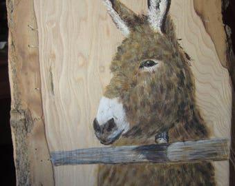 Animal painting: donkey gate on chestnut with bark wood