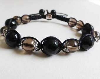 Onyx faceted smoky quartz shamballa bracelet