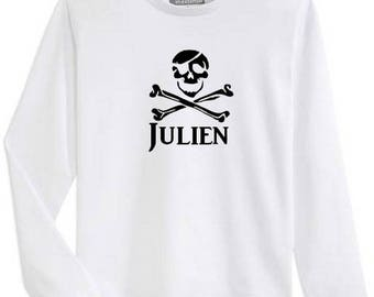 Boy Pirate personalized with name long sleeve t-shirt