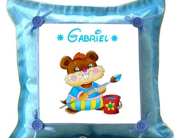 Blue cushion mouse painter personalized with name