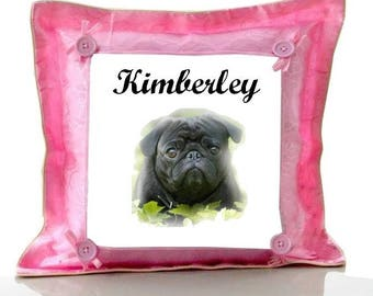 Cushion Pink dog personalized with name