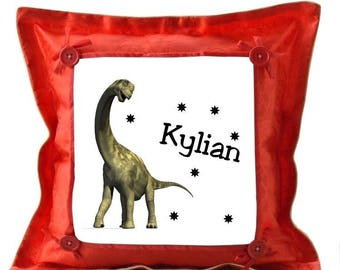 Red cushion dinosaur personalized with name