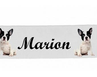 White girl french Bouldog personalized with name banner