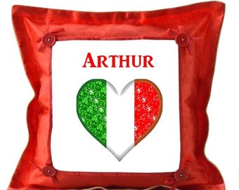 Italy red pillow personalized with name