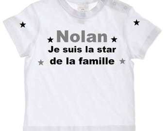 tee shirt baby the star of the family personalized with name
