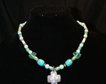 Green Bead Necklace with Silver Cross Pendant