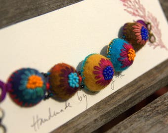 Colorful felt and embroidered wool (# 6) bracelet