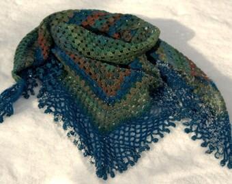 Forest - Shawl, scarf / crochet half-granny square blue-green dark brown