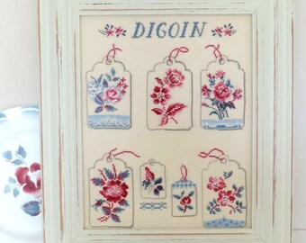 handmade cross-stitched embroidered frame, themed labels, dishes Digoin. country decor