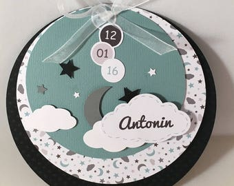 Round black and verdigris with clouds birth announcements