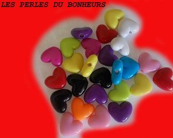 Set of 10 acrylic heart beads