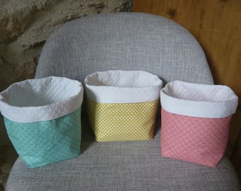 trio of baskets, graphics and patterns Japanese, mint green, mustard.. .on order