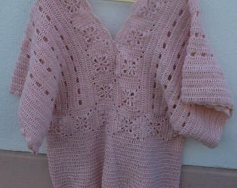 """Nude"" women crochet tunic top"