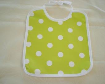 lime polka dot oilcloth bib
