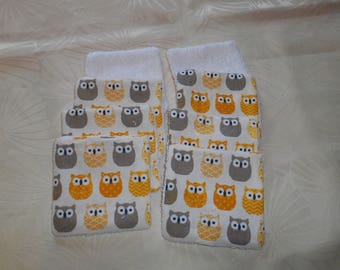 set of 8 wipes washable bamboo - yellow and gray owls
