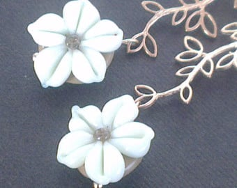 Earrings: White flowers on branches