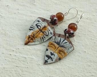 Earrings: African - enameled copper