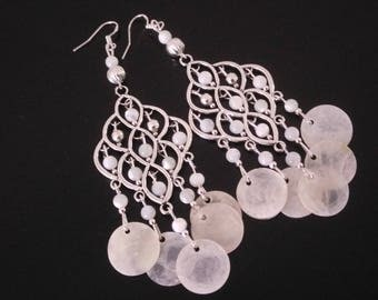 White mother of Pearl hanging earrings