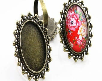 25 * 18mm: 1 ring adjustable stand bronze oval 25 * 18mm cabochon