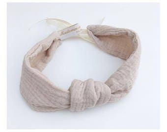 Bandeau / headband gaze double de coton beige, turban réglable