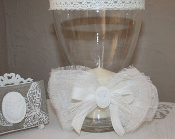 Glass candle and his linen Ribbon