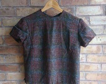 Vintage tweed frayed top