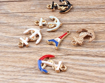 10 Pieces Anchors Charms Little Anchors Charms Anchors Pendants Gold Plated Enamel Charms NO #AB008