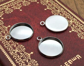 10pcs 16mm Silver White Plate Cabochon Base Necklace Pendant Setting Antique Bronze Cameo Blank Tray Jewelry Findings