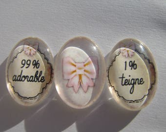 Set of 3 Cabochons 18 X 25 mm oval with their funny writing images