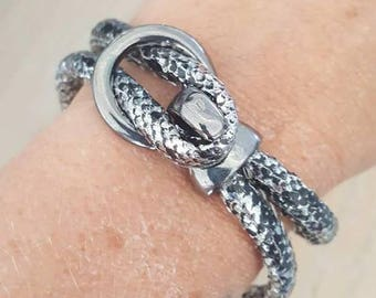grey Croc leatherette bracelet creation